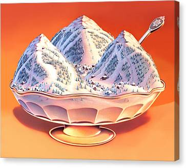 Cream Canvas Print - Skiers Sundae by Robin Moline