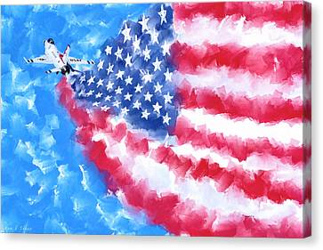 Canvas Print featuring the mixed media Skies Over America by Mark Tisdale