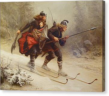 Skiing Birchlegs Crossing The Mountain With The Royal Child Canvas Print