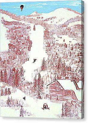 Skiing Deer Valley Utah Canvas Print by Richard W Linford