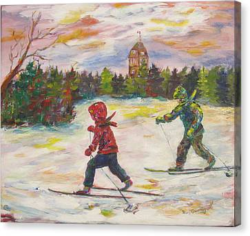 Skiing In The Park Canvas Print by Naomi Gerrard