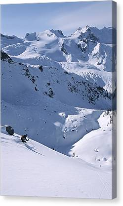 Skiing In The Selkirk Range, British Canvas Print by Jimmy Chin