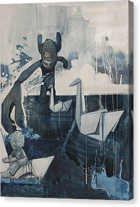 Skinney Malinky And The Paperswans Canvas Print by Konrad Geel