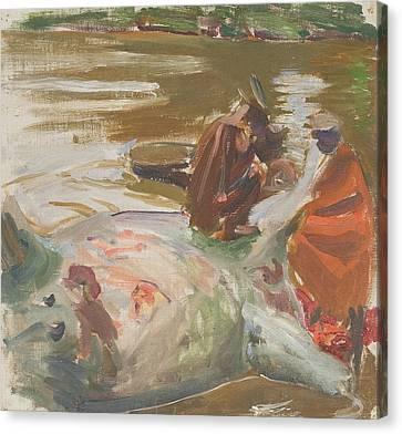Skinning A Hippopotamus Canvas Print by Akseli Gallen-Kallela