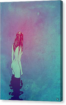 Naked Canvas Print - Skinny Dipping by Giuseppe Cristiano