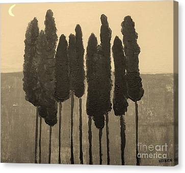 Skinny Trees In Sepia Canvas Print by Marsha Heiken