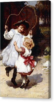 Youthful Canvas Print - Skipping by Frederick Morgan