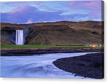 Canvas Print featuring the photograph Skogafoss Dusk Iceland by Brad Scott