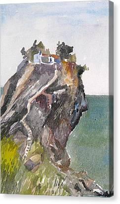 Skopelos Church On The Rock Canvas Print by George Siaba