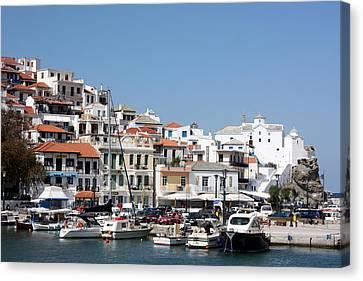 Skopelos Harbour Greece Canvas Print by Yvonne Ayoub