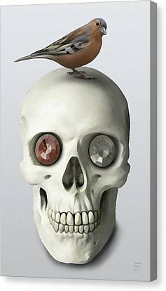 Skull And Bird Canvas Print by Ivana Westin