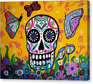 Skull And Butterflies Canvas Print by Pristine Cartera Turkus