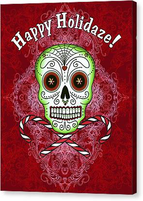 Skull And Candy Canes Canvas Print by Tammy Wetzel