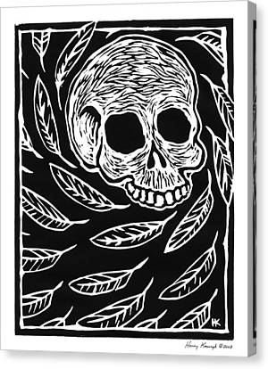 Skull And Feathers Canvas Print