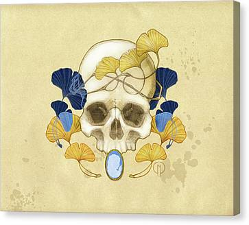 Skull And Ginkgo Canvas Print by Catherine Noel