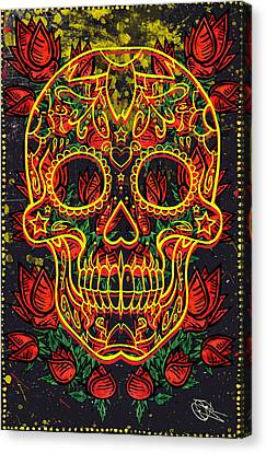 Skull And Roses Canvas Print by Josh Brown