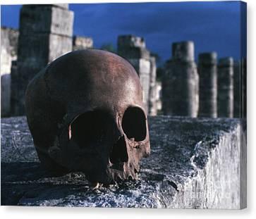 Skull At Chichen Itza Canvas Print