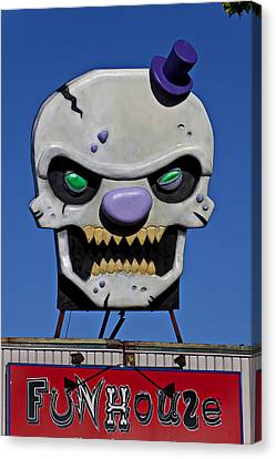 Frightening Canvas Print - Skull Fun House Sign by Garry Gay
