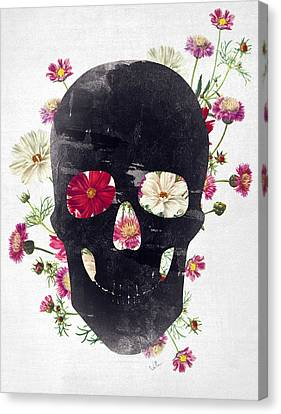 Skull Grunge Flower 2 Canvas Print by Francisco Valle