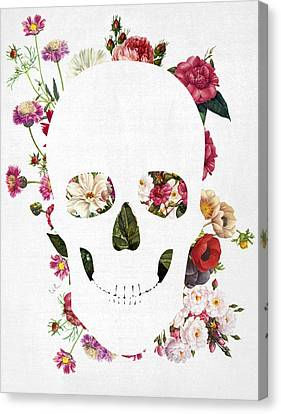 Skull Grunge Flower Canvas Print by Francisco Valle