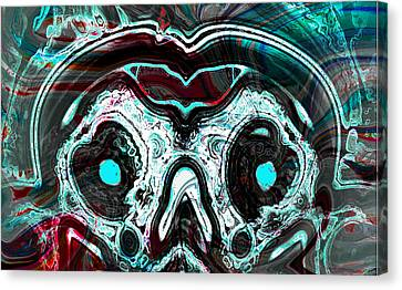 Skull Of A Mad Alien With Snake Canvas Print by Abstract Angel Artist Stephen K