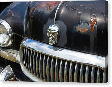Skull On The Hood Canvas Print