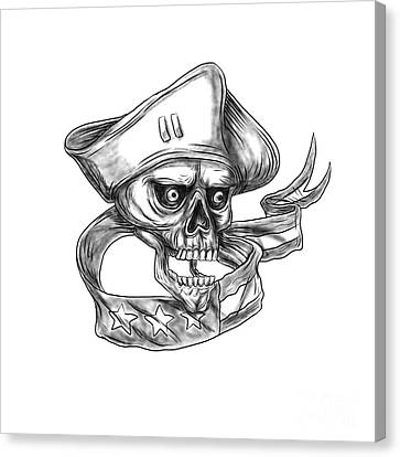Skull Patriot Usa Flag Ribbon Tattoo Canvas Print by Aloysius Patrimonio