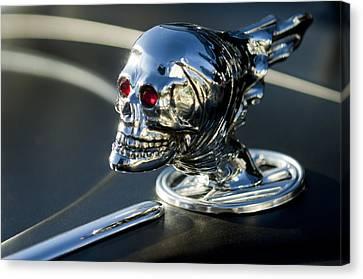 Skull Rat Rod Hood Ornament Canvas Print