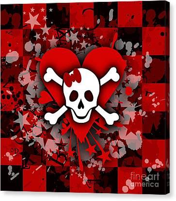 Skull Romance Canvas Print by Roseanne Jones