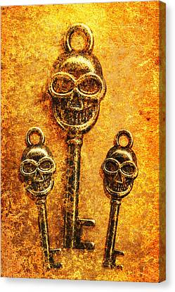 Skull Shaped Keys In Flame Canvas Print by Jorgo Photography - Wall Art Gallery
