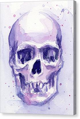 Skull Watercolor Purple Canvas Print