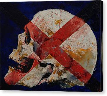 Skull With Cross Canvas Print by Michael Creese