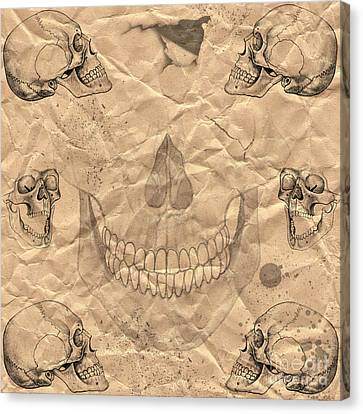 Skulls In Grunge Style Canvas Print by Michal Boubin