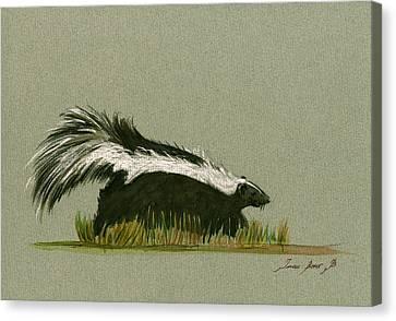 Skunk Animal Canvas Print by Juan  Bosco