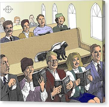 Skunk Goes To Church - Sits In Own Pew Canvas Print by Gary Peterson