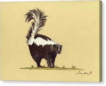 Skunk Watercolor Canvas Print by Juan  Bosco