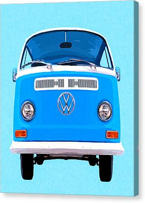 Sky Blue Vw Camper Canvas Print by Mark Tisdale