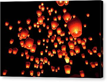 Large Group Of Objects Canvas Print - Sky Lanterns In Pinghsi by Jun