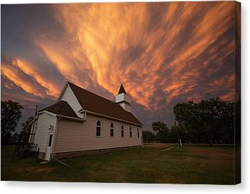 Canvas Print featuring the photograph Sky Of Fire by Aaron J Groen