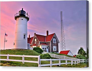 Sky Of Passion - Nobska Lighthouse Canvas Print by Thomas Schoeller