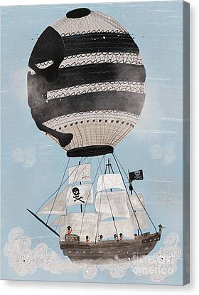 Canvas Print featuring the painting Sky Pirates by Bri B