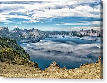 Sky Reflections In Crater Lake  Canvas Print by Frank Wilson