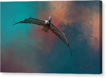 Flying White Pelicans Canvas Print - Sky Soaring by Marvin Spates