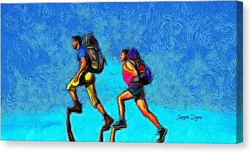Athletes Canvas Print - Sky Walkers - Da by Leonardo Digenio