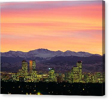 Skyline And Mountains At Dusk, Denver Canvas Print by Panoramic Images