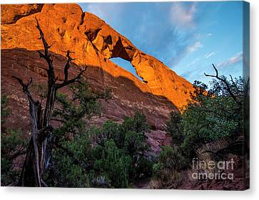 Canvas Print featuring the photograph Skyline Arch At Sunset - Arches National Park - Utah by Gary Whitton