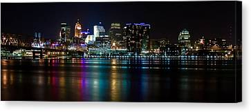 Skyline At Night Canvas Print by Keith Allen