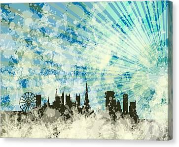 Skyline Bristol Over Blue Light Ray Canvas Print by Alberto RuiZ