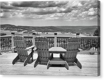 Skyline Lodge Fabius New York Patio View Bw Canvas Print by Thomas Woolworth