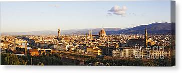 Skyline Of Florence From The Piazza Michelangelo At Dawn Canvas Print by Jeremy Woodhouse